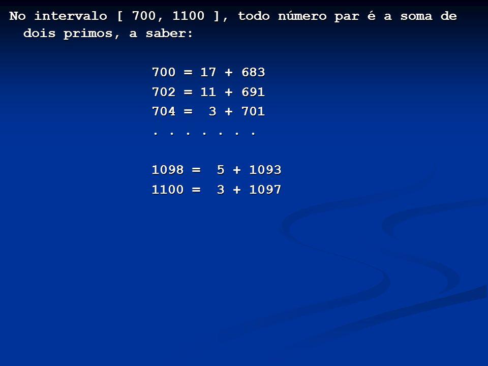 No intervalo [ 700, 1100 ], todo número par é a soma de dois primos, a saber:
